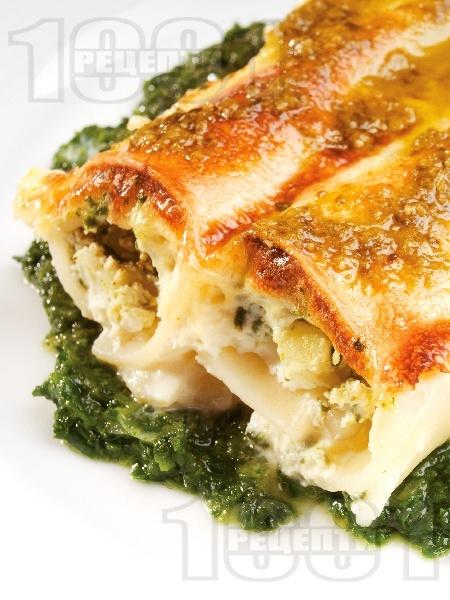 Канелони със сирене рикота и спанак - снимка на рецептата